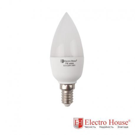 Светодиодная лампа 5W Е14, рассеиватель С37